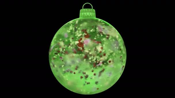 Vánoční zelená LED skleněná cetka dekorace barevné lístky alfa matný smyčka