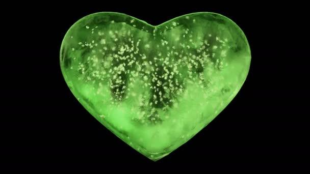 grünes Eisglasherz mit Schneeflocken in der alpha matten Schleife 4k