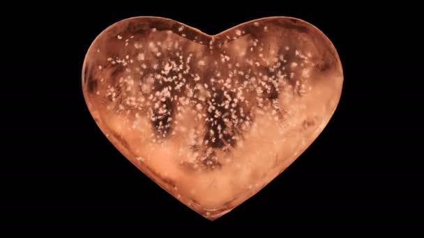 Orange Ice Glass Heart with snowflakes inside Alpha Matte Loop 4k