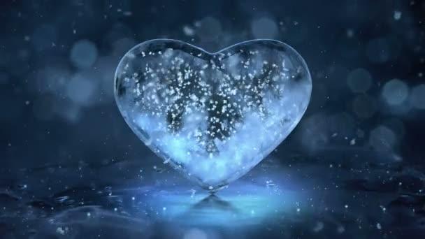 Blue Ice skleněné srdce s sněhové vločky uvnitř pohybu pozadí smyčky 4k