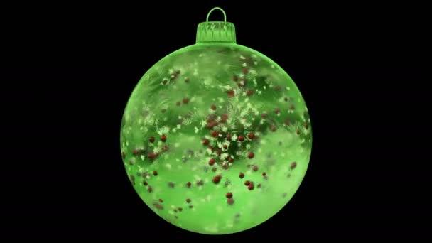 Vánoční rotující Green Ice skleněná cetka dekorace červené koulí alfa matný smyčka