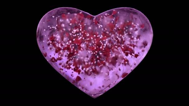 Růžový LED skleněné srdce s sněhové vločky a červené lístky alfa matný smyčka 4k