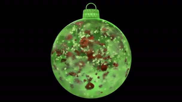 Vánoční zelená LED skleněná cetka dekorace červené květy alfa matný smyčka 4k