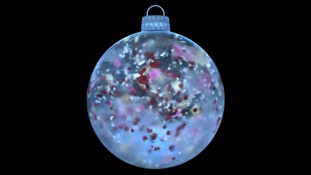 Vánoční Blue Ice skleněná cetka dekorace sněhová barevné lístky alfa matný smyčka