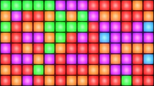 Colorful Disco nightclub dance floor wall glowing light grid background vj loop