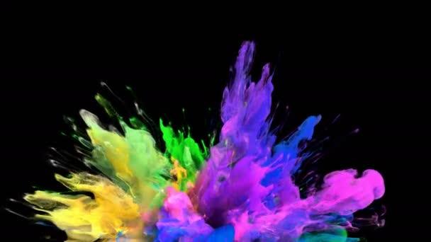 Color Burst - barevné růžová žlutý kouř exploze částice kapaliny Alfa podkladu