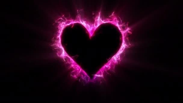 Růžová barva zářící plamen srdce ve tvaru Valentýna láska karta kopírovat prostor 60fps