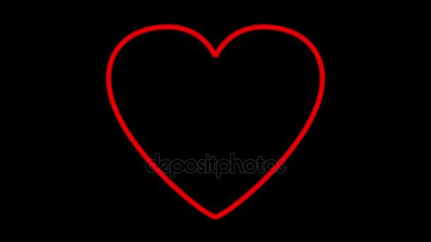Valentine Herz gezeichnet von roten Linien.
