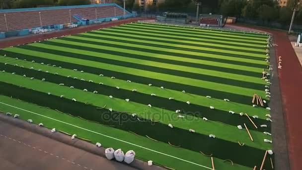 Luchtfoto schieten: Hd - voetbal. Schone nieuwe voetbalveld. Nieuwe ...
