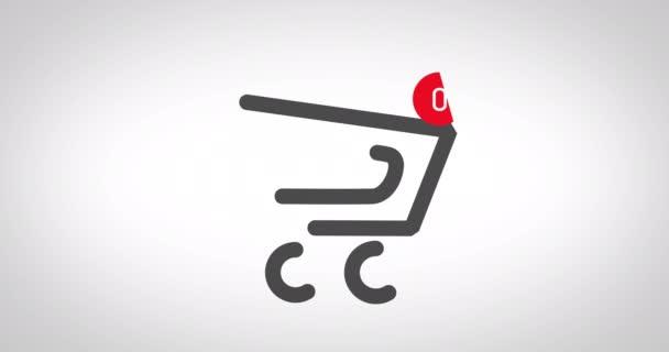 Animace nákupního košíku na webu v internetovém obchodě. Nákupní online nákupní košík, pult produkty. Nákupy v online službě, bezhotovostní platba.