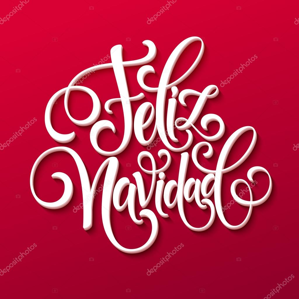 Mano Feliz Navidad Letras texto de decoración para la plantilla de ...