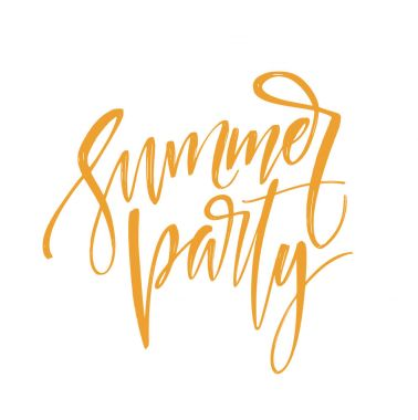 Handwritten inscription Summer party. Hand drawn element for your design. Vector illustration
