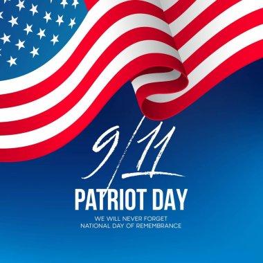 September 11, 2001 Patriot Day background. We Will Never Forget. background. Vector illustration