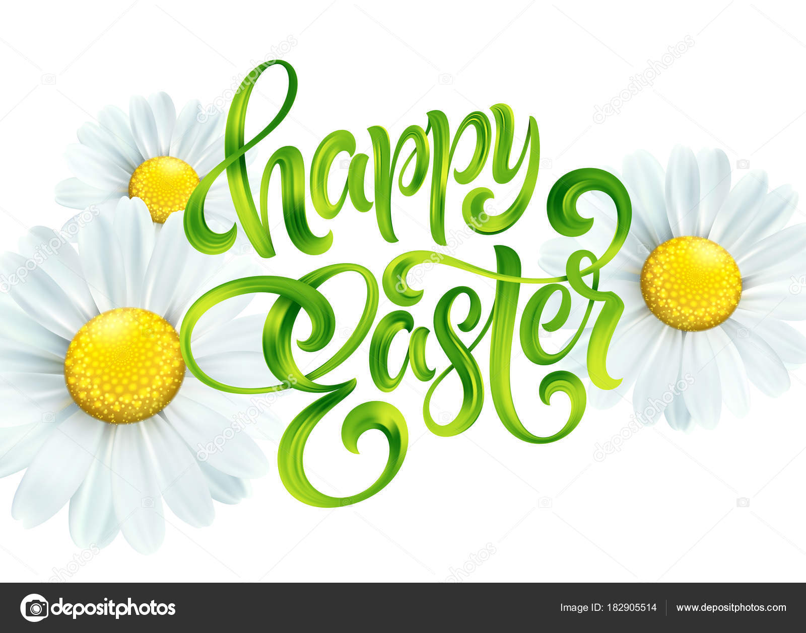 Happy Easter Colorful Paint Lettering Greeting Card With Daisies