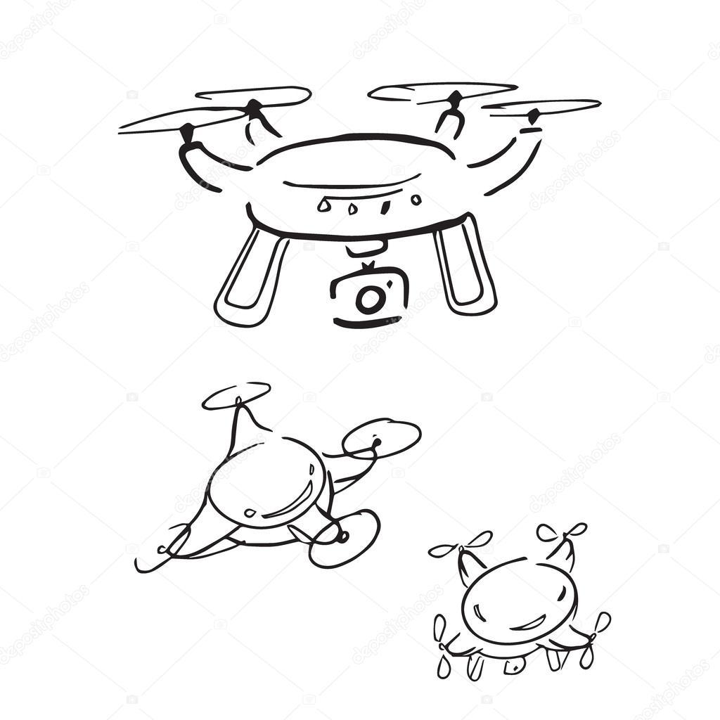 Drone Radio Control Aircarf Cartoon Drawing Stock Vector C Tawesit