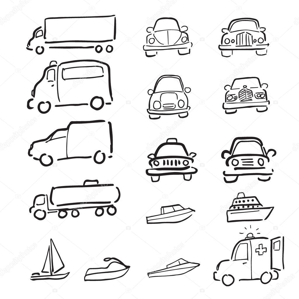 Båtar och bilar tecknad ritning icosns set — Stock Vektor ...