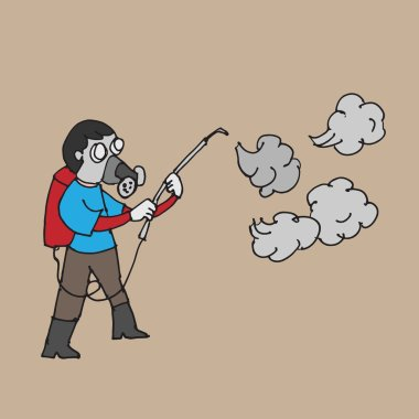Man spraying insecticide cartoon drawing