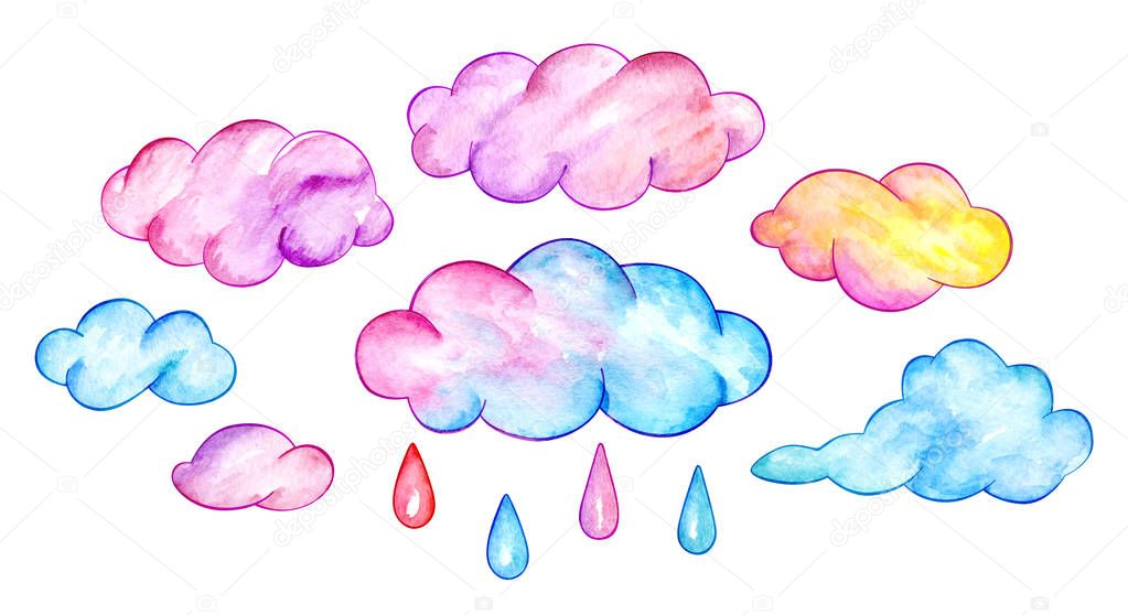 Multicolor clouds and rain drops. Funny cartoon sky. Watercolor illustration