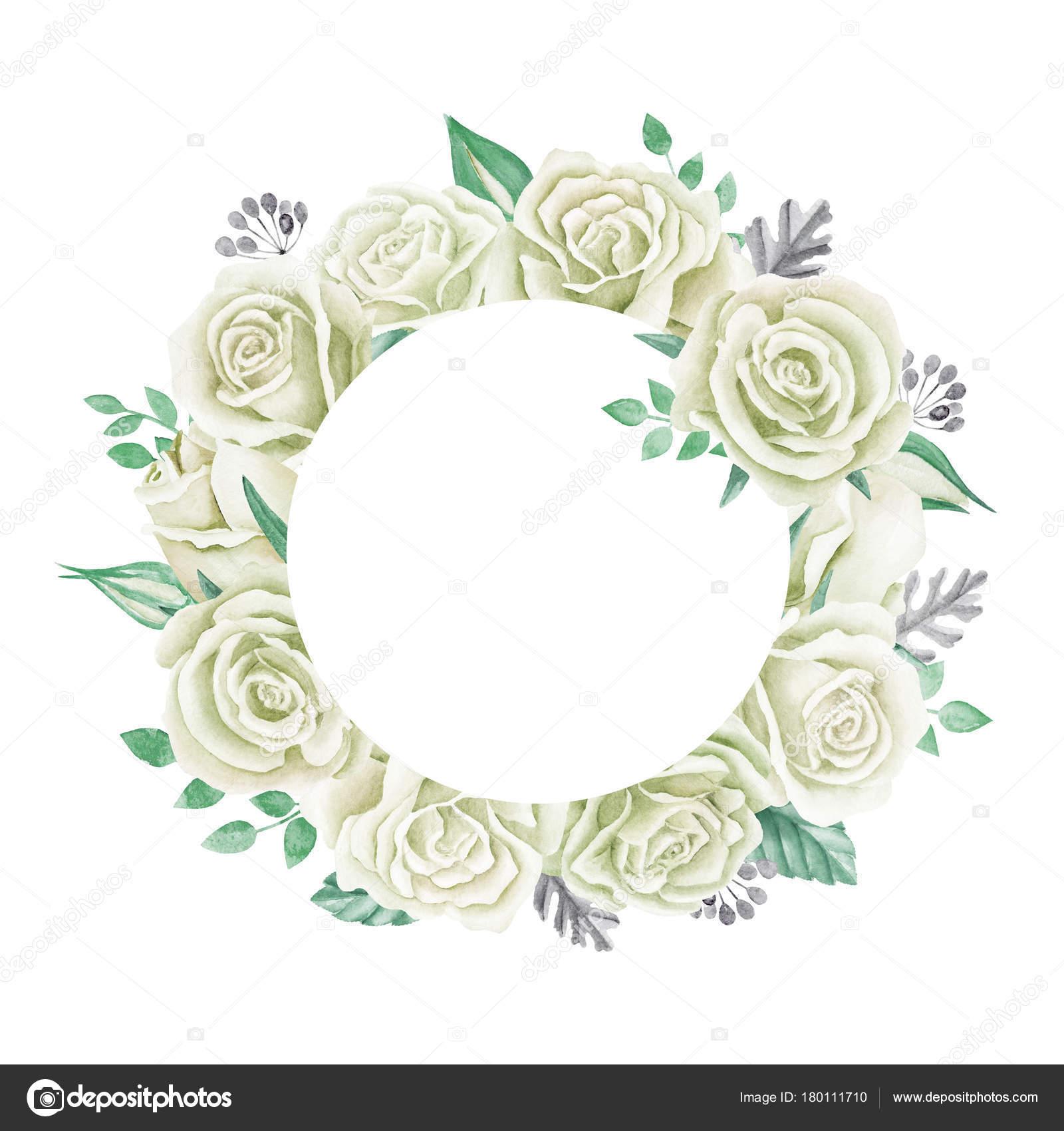 Weiße Rosen Aquarell Bild Niedliche Vintage Stil Kranz Rahmen Rahmen ...
