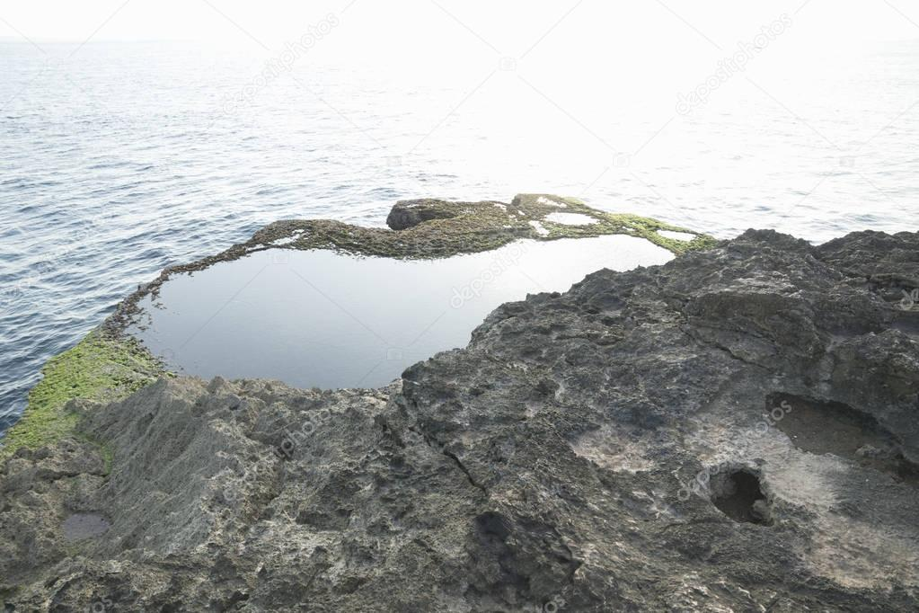 Natural Pool at devil's tears cliff Nusa Lembongan, Bali, Indonesia