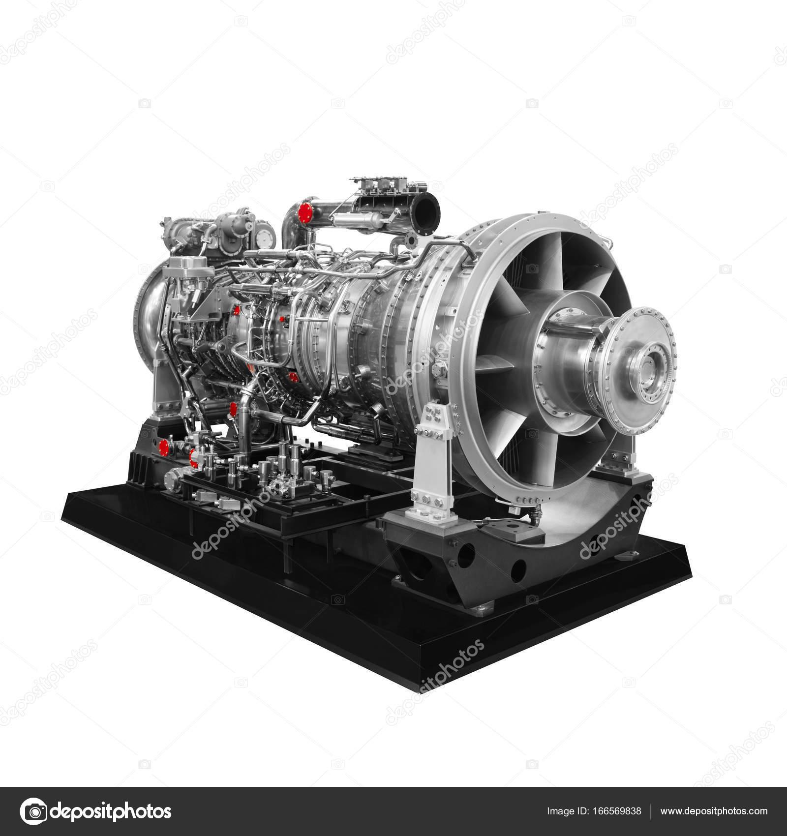 Gas turbine aircraft engine isolated on white background — Stock