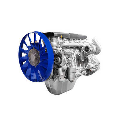 Modern heavy duty truck diesel turbodiesel engine isolated on white background