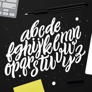 Handwritten alphabet for design. Handwritten brush style modern calligraphy cursive typeface.