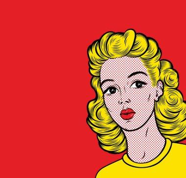 Pop art blond woman. Retro