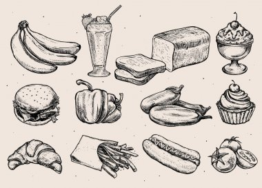 Set of different hand drawn food.