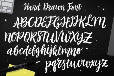 Calligraphic script font.