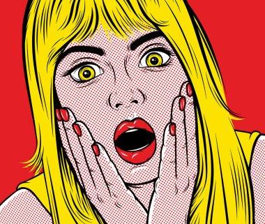 Pop art surprised woman.
