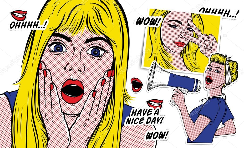 Surprised blond woman face with open mouth. Wow pop art comics retro style Halftone. Imitation of old illustrations. Vector illustration for Designs: Poster, Invitation, Banner, etc. clipart vector
