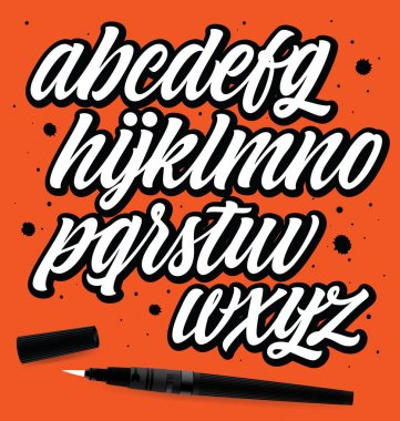 Vector hand drawn typeface. Brush painted letters. Handwritten script alphabet isolated on orange background. Handmade alphabet for your designs: logo, posters, wedding invitations, cards, etc. stock vector