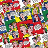 Pop art background in 60s style. Pin up women with speech bubbles. Fashion colorful illustration. Comic pattern. Retro comic book background.