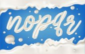 Fotografie White milky letters n o p q r with  border, splashes and drops on blue background. Dairy design illustration.