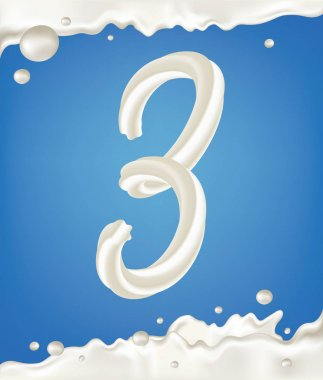 White milk number 3 with border, splashes and drops on blue background. Dairy design illustration.