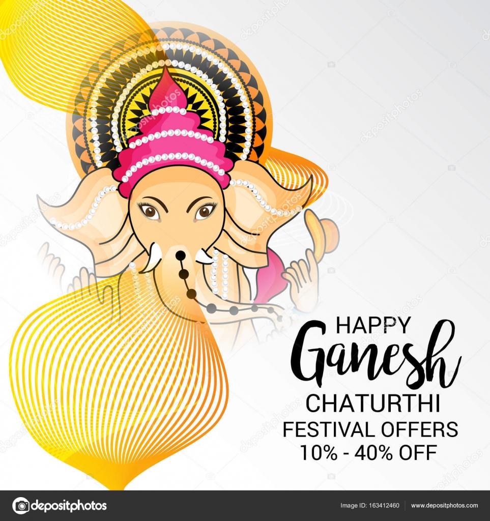 Stock Vector Happy Ganesh Chaturthi Greeting Card Design Word