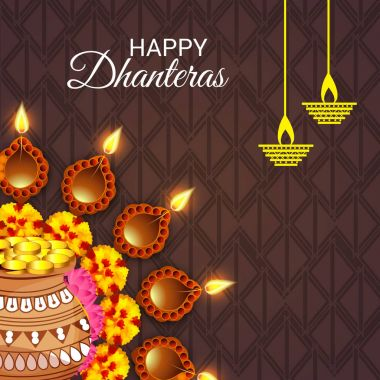 Vector illustration of a Background for Happy Dhanteras Festival. clip art vector