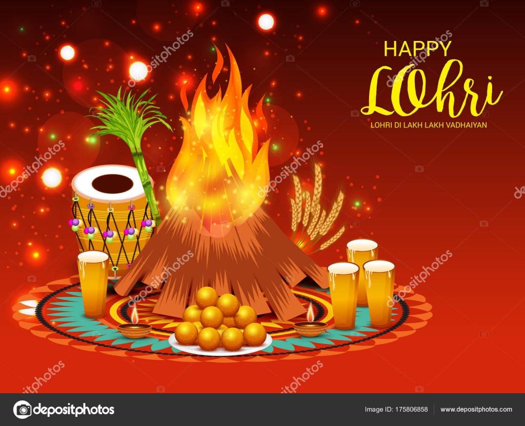 Vector Illustration Festival Happy Lohri Background ...