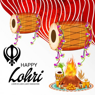 Vector illustration on festival of happy lohri background with Happy wishes for Lohri.