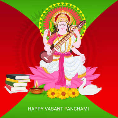 Vector illustration of a background for Happy Vasant Pachami.