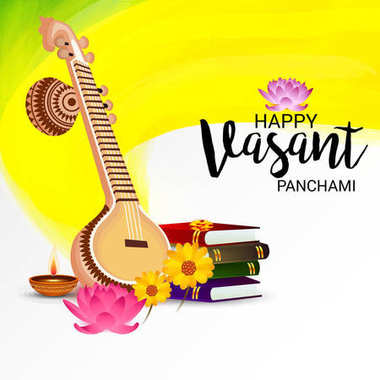 Vector illustration of a background for Happy Vasant Panchami.