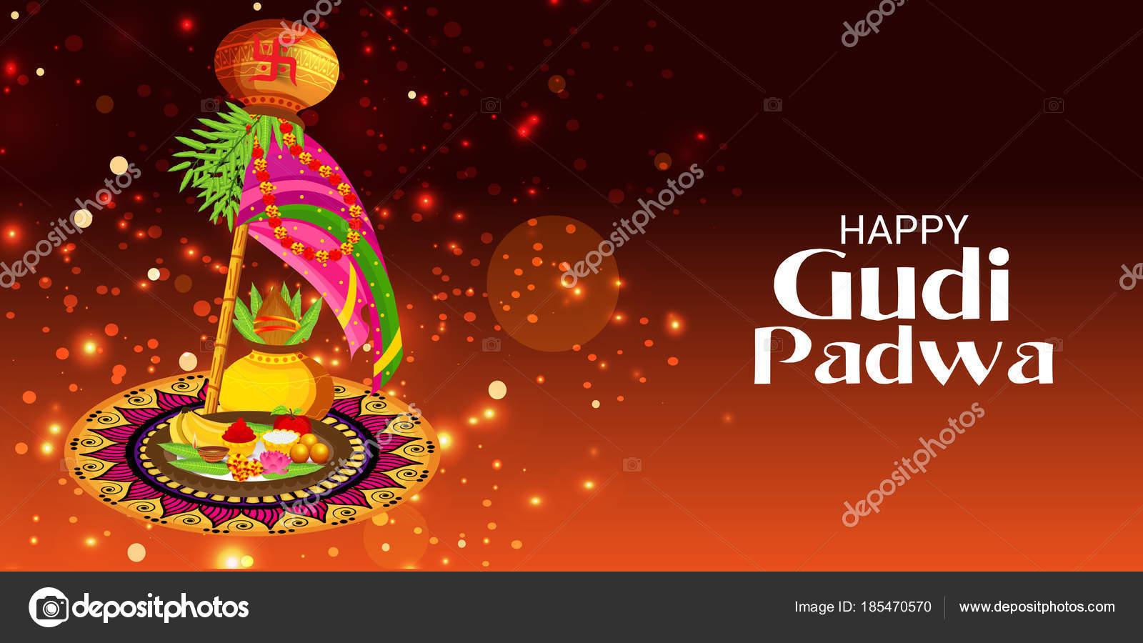Illustration Background Happy Gudi Padwa Marathi New Year Stock
