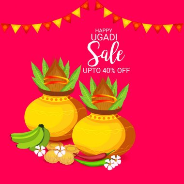Vector illustration of a Background for Happy Ugadi Hindu New Year.