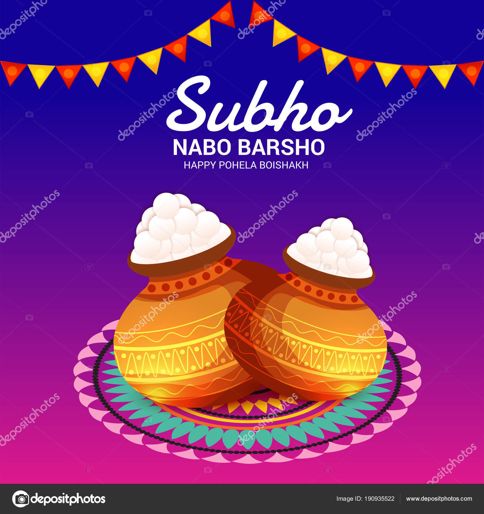 vector illustration background bengali new year subho nabo barsho happy stock vector