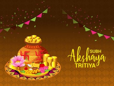 Vector illustration of a Creative Background For Festival Of Akshaya Tritiya Celebration.
