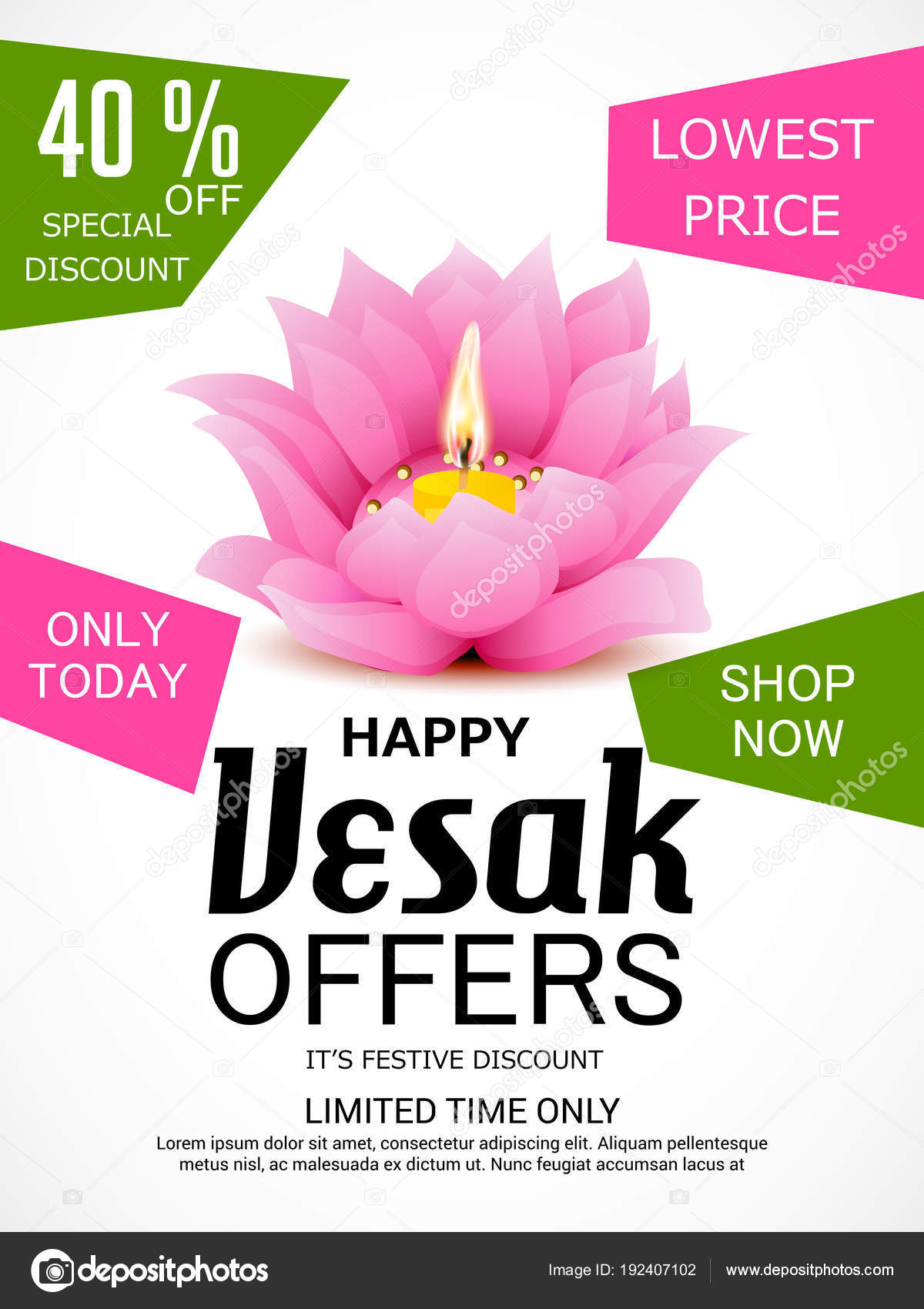 Vector Illustration Banner Vesak Day Pink Lotus Flower Stock
