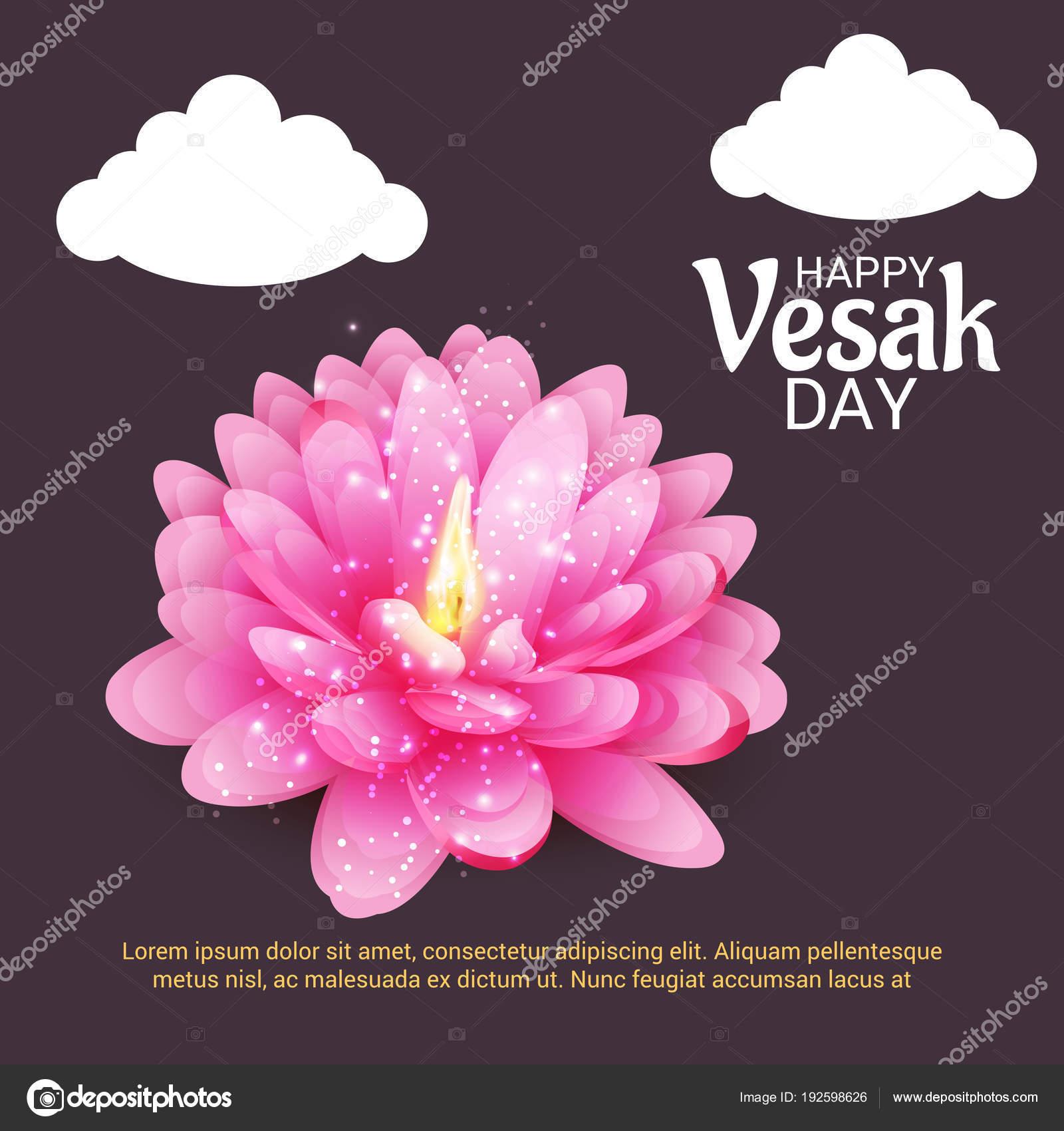Vector Illustration Banner Vesak Day Pink Lotus Flower Stock