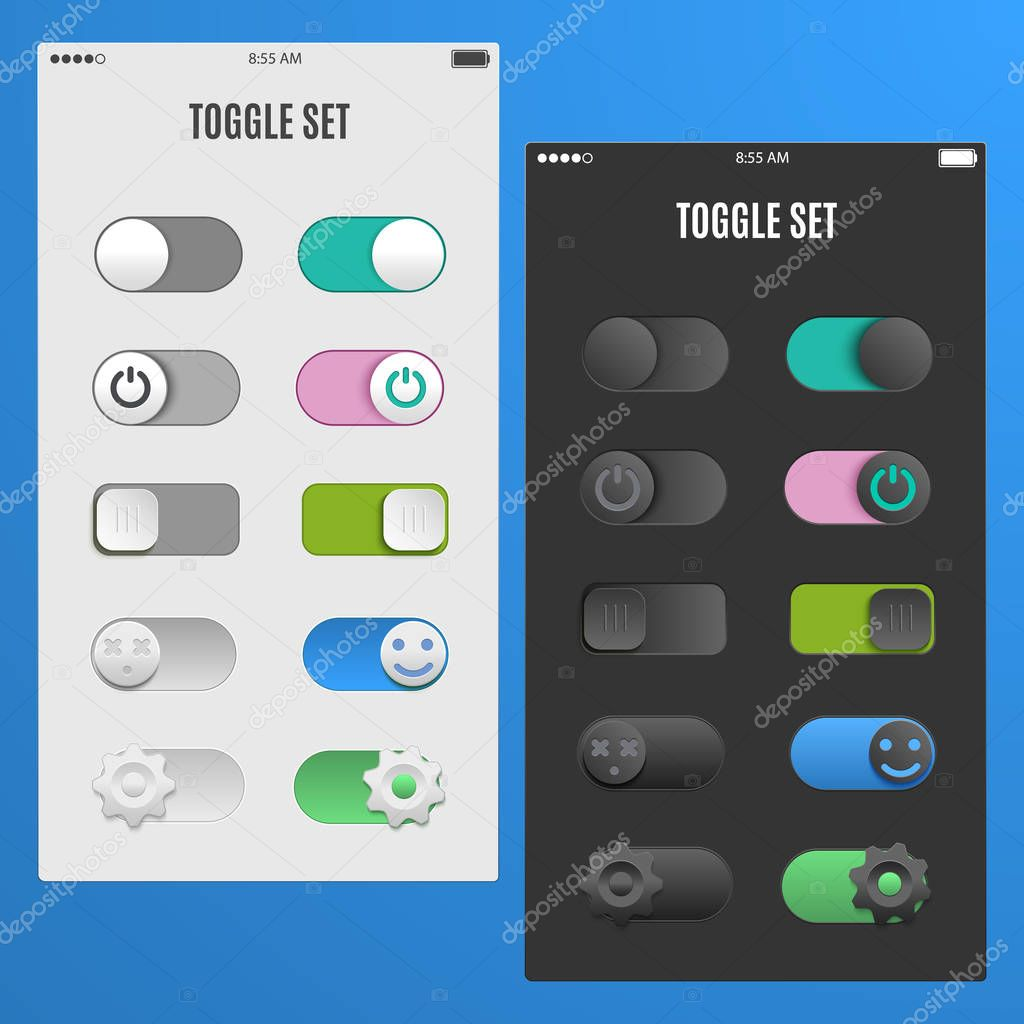 Set light and dark toggle switch to web design the of UI UX