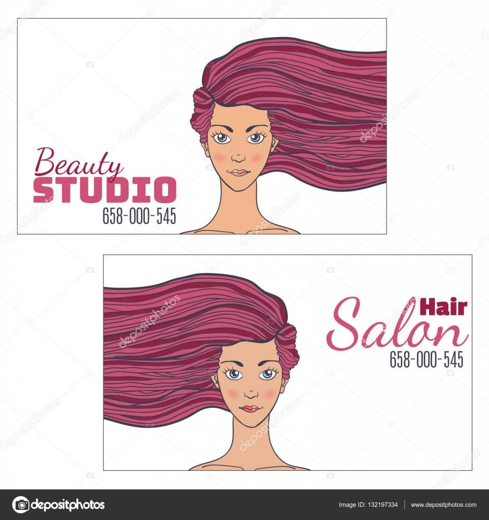 Beaut Cheveux Studio Carte De Visite Avec Une Photo Dune Belle Fille Le